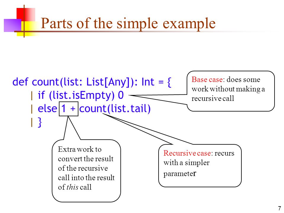 7 Parts of the simple example def count(list: List[Any]): Int = { | if (list.isEmpty) 0 | else 1 + count(list.tail) | } Base case: does some work without making a recursive call Recursive case: recurs with a simpler paramete r Extra work to convert the result of the recursive call into the result of this call