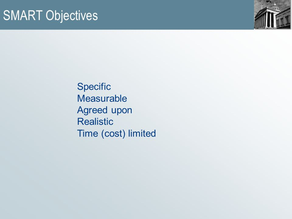 SMART Objectives Specific Measurable Agreed upon Realistic Time (cost) limited