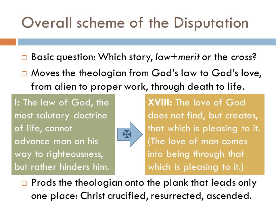 Overall scheme of the Disputation  Basic question: Which story, law+merit or the cross.