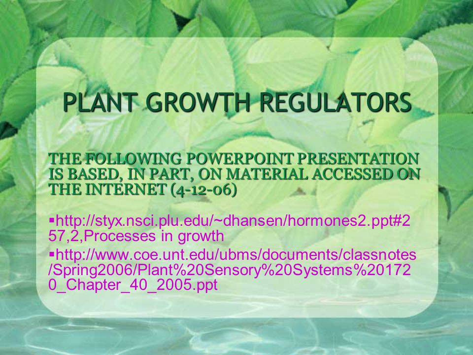 PLANT GROWTH REGULATORS THE FOLLOWING POWERPOINT PRESENTATION IS BASED, IN PART, ON MATERIAL ACCESSED ON THE INTERNET (4-12-06)  http://styx.nsci.plu