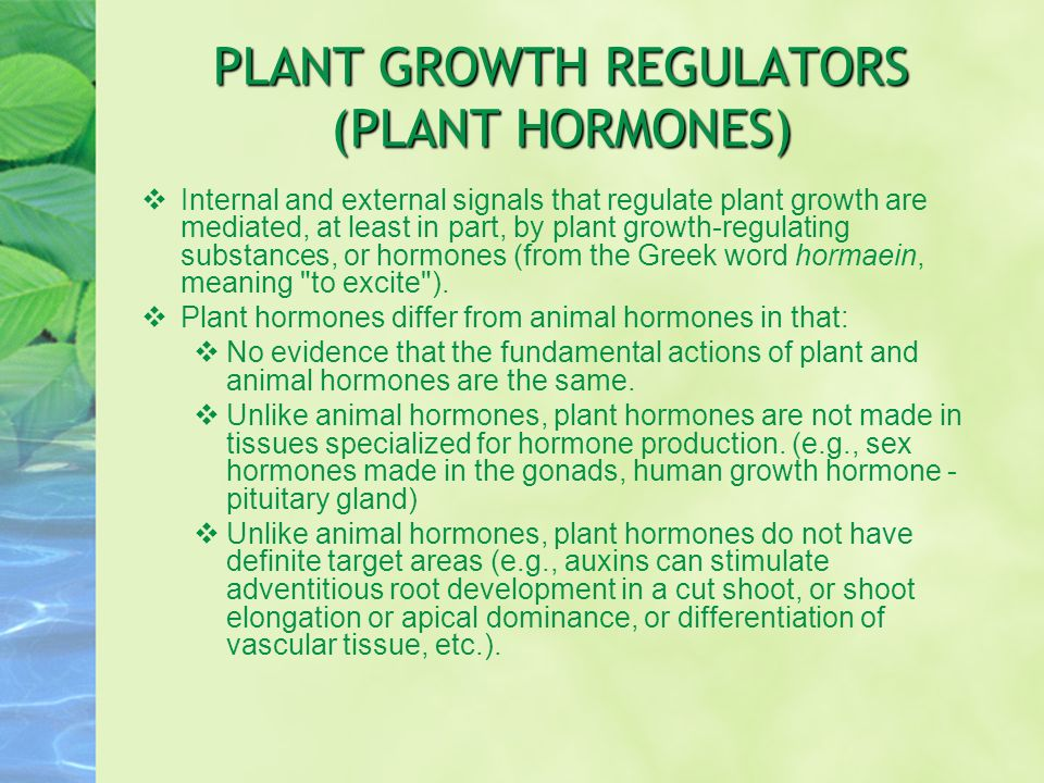 PLANT GROWTH REGULATORS (PLANT HORMONES)  Internal and external signals that regulate plant growth are mediated, at least in part, by plant growth-re