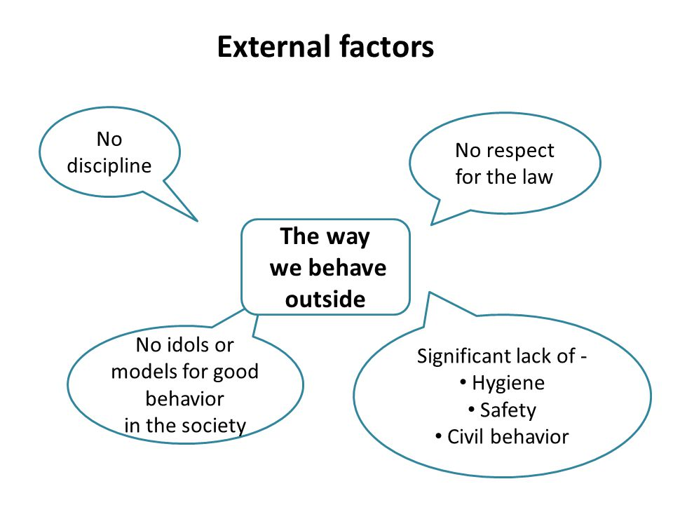 External factors No discipline No respect for the law No idols or models for good behavior in the society Significant lack of - Hygiene Safety Civil behavior The way we behave outside