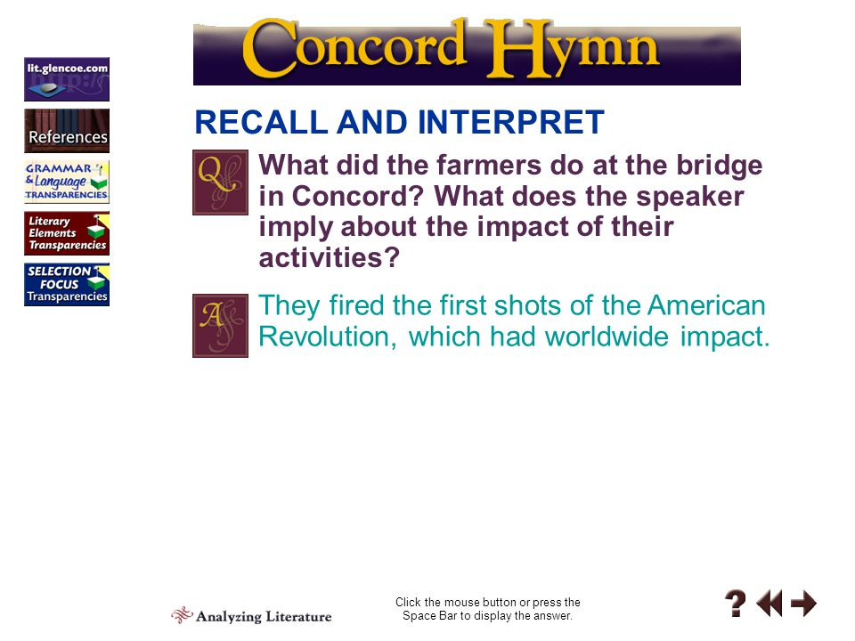 "Personal Response 6 PERSONAL RESPONSE What were your reactions to ""Concord Hymn""? Note them in your journal."