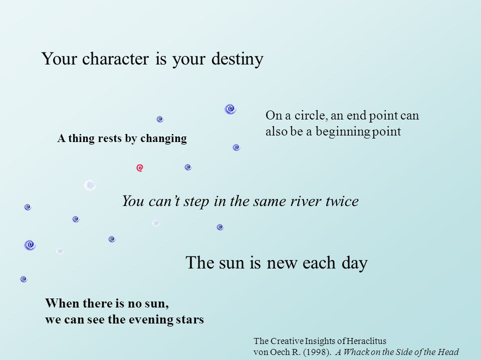 Your character is your destiny The sun is new each day A thing rests by changing On a circle, an end point can also be a beginning point When there is