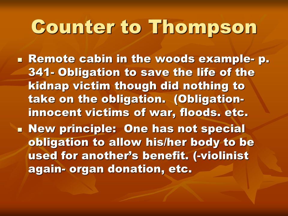 Counter to Thompson Remote cabin in the woods example- p.