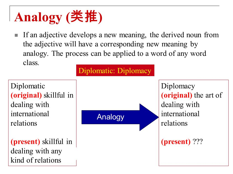 Analogy ( 类推 ) If an adjective develops a new meaning, the derived noun from the adjective will have a corresponding new meaning by analogy.