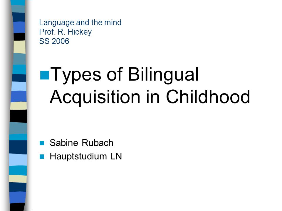 Language and the mind Prof. R.