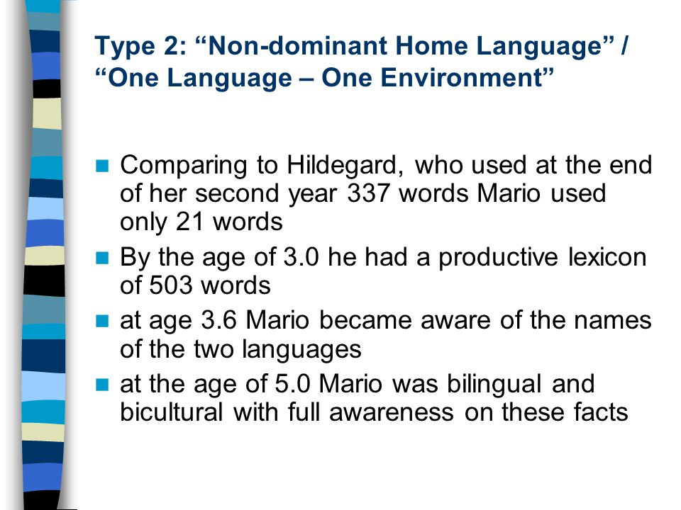 "Type 2: ""Non-dominant Home Language"" / ""One Language – One Environment"" Comparing to Hildegard, who used at the end of her second year 337 words Mario"