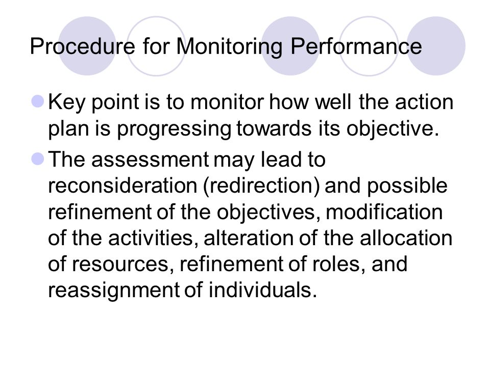 Procedure for Monitoring Performance Key point is to monitor how well the action plan is progressing towards its objective.