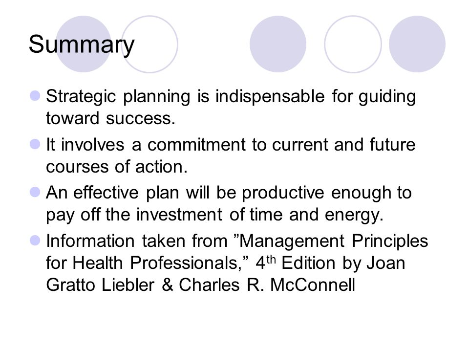Summary Strategic planning is indispensable for guiding toward success.