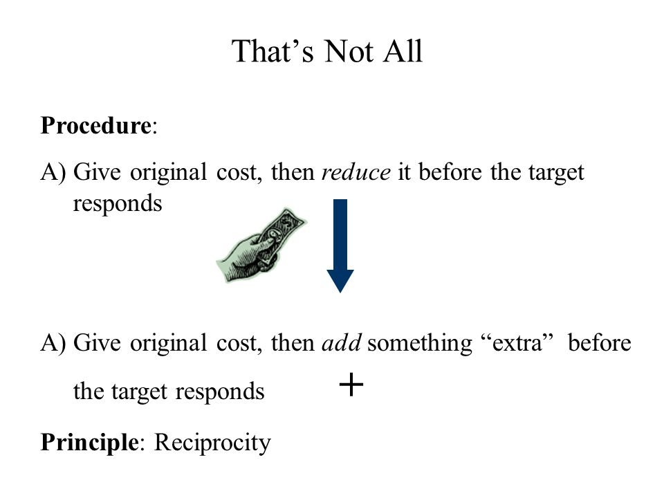 That's Not All Procedure: A)Give original cost, then reduce it before the target responds A)Give original cost, then add something extra before the target responds + Principle: Reciprocity