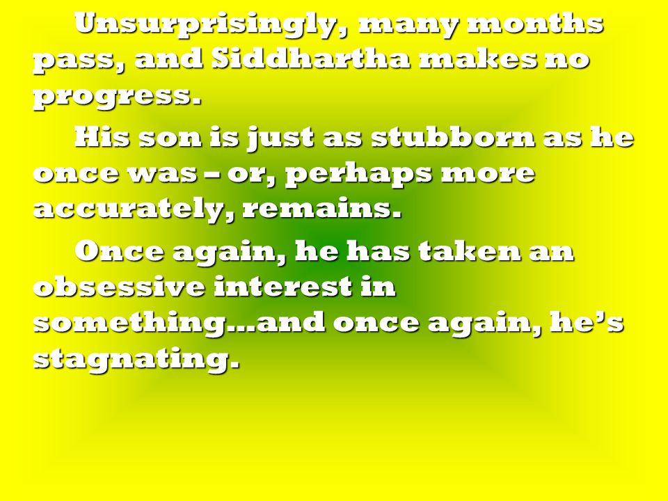 Unsurprisingly, many months pass, and Siddhartha makes no progress.
