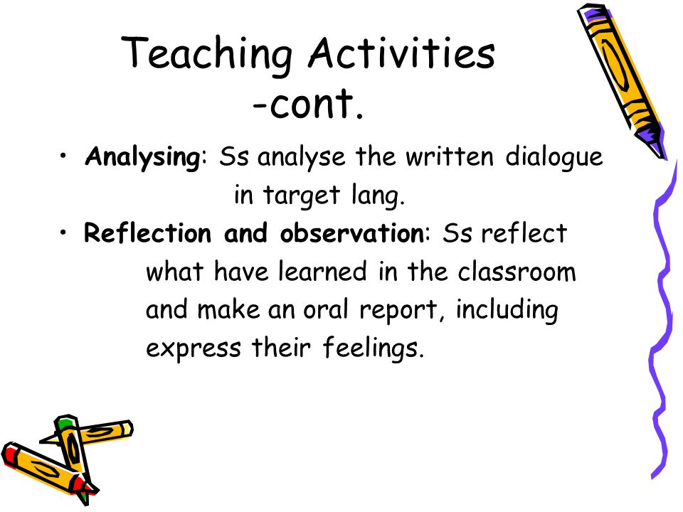 Teaching Activities -cont. Analysing: Ss analyse the written dialogue in target lang.
