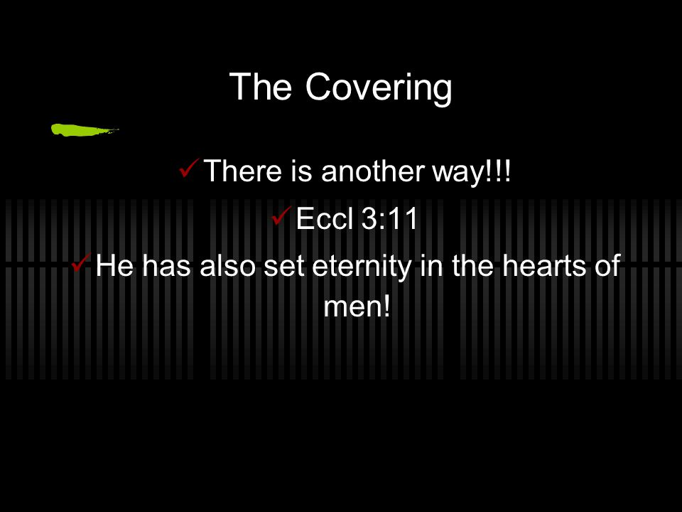 The Covering There is another way!!! Eccl 3:11 He has also set eternity in the hearts of men!
