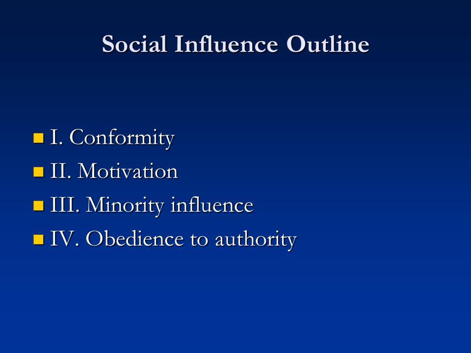 Social Influence Outline I. Conformity I. Conformity II.