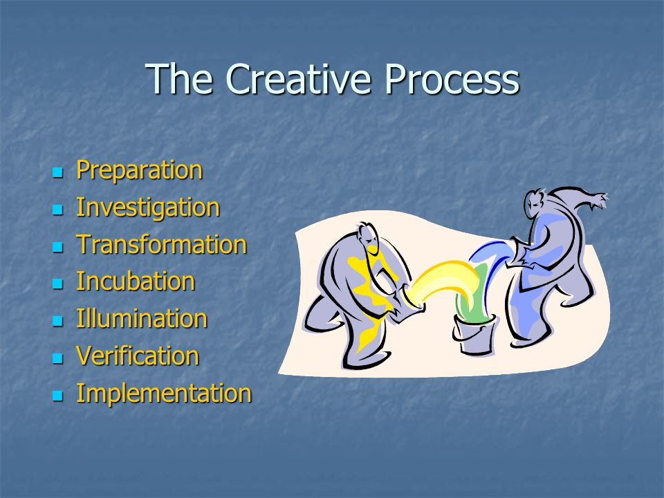 The Creative Process Preparation Preparation Investigation Investigation Transformation Transformation Incubation Incubation Illumination Illumination Verification Verification Implementation Implementation