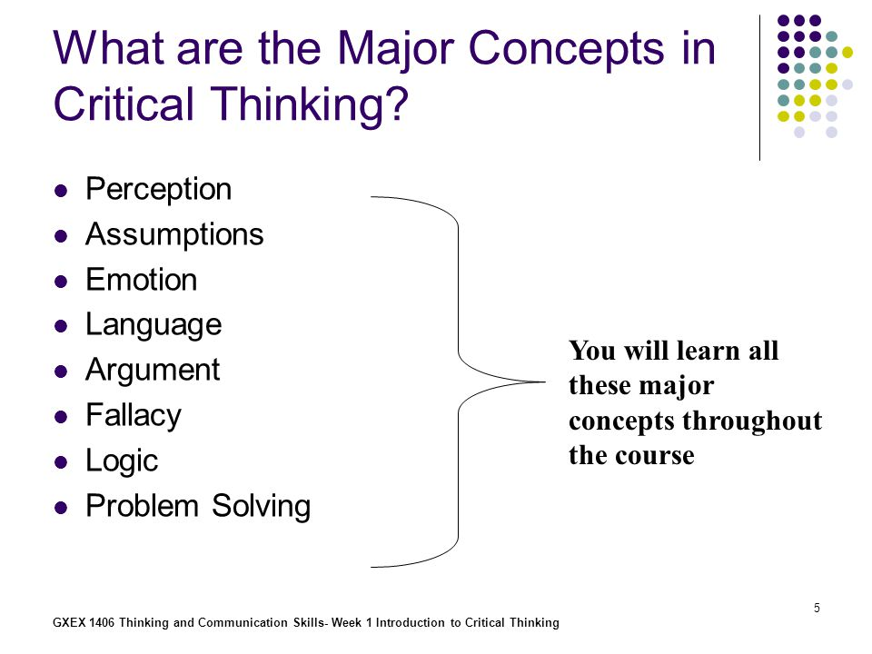 GXEX 1406 Thinking and Communication Skills- Week 1 Introduction to Critical Thinking 6 Something else is needed More to Critical Thinking than just cognitive skills Human beings are more than just thinking machines
