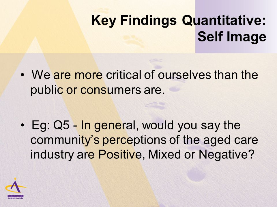 Key Findings Quantitative: Self Image We are more critical of ourselves than the public or consumers are.