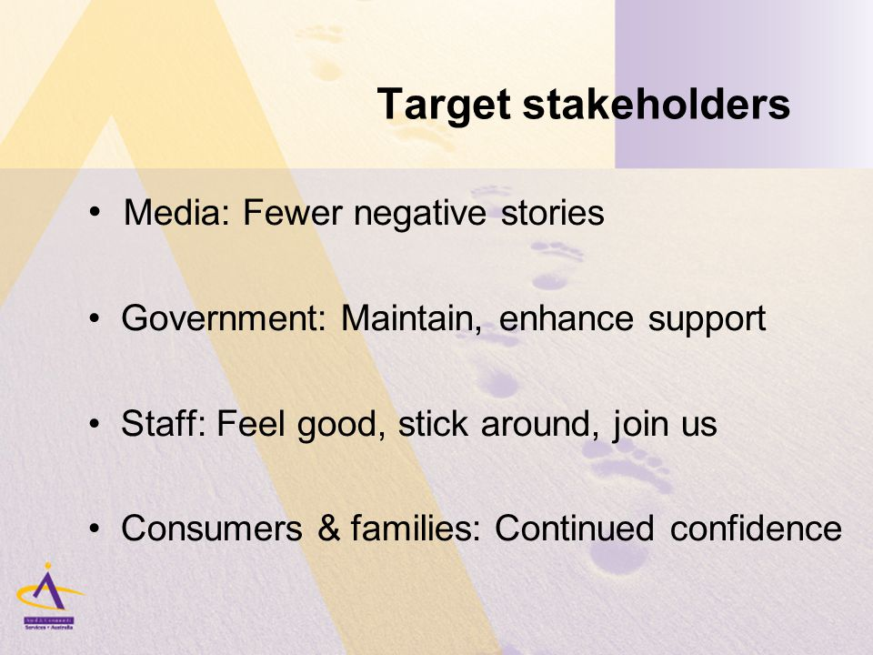 Target stakeholders Media: Fewer negative stories Government: Maintain, enhance support Staff: Feel good, stick around, join us Consumers & families: Continued confidence