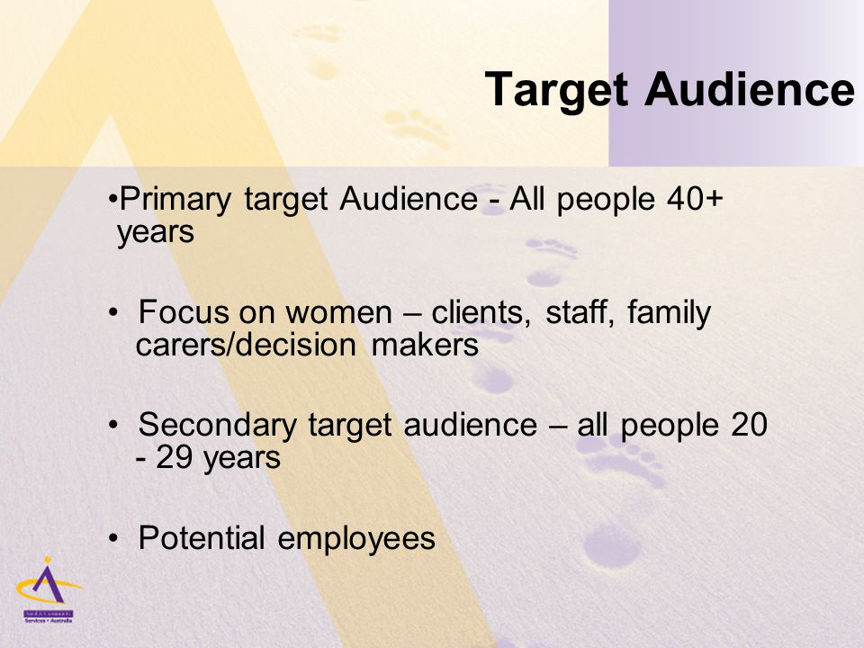 Target Audience Primary target Audience - All people 40+ years Focus on women – clients, staff, family carers/decision makers Secondary target audience – all people 20 - 29 years Potential employees