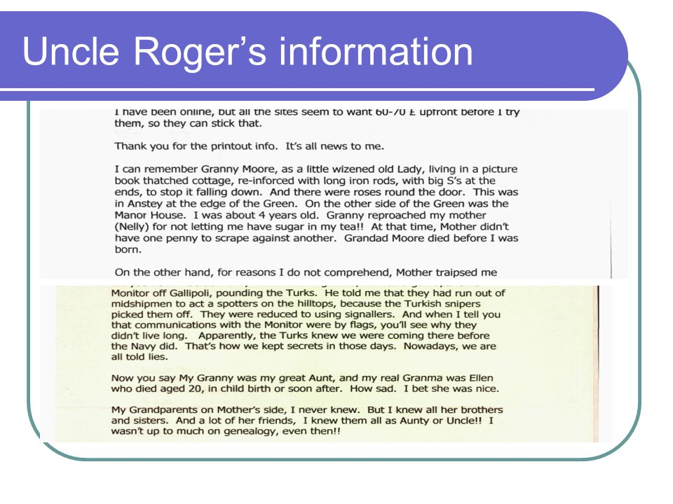 Uncle Roger's information