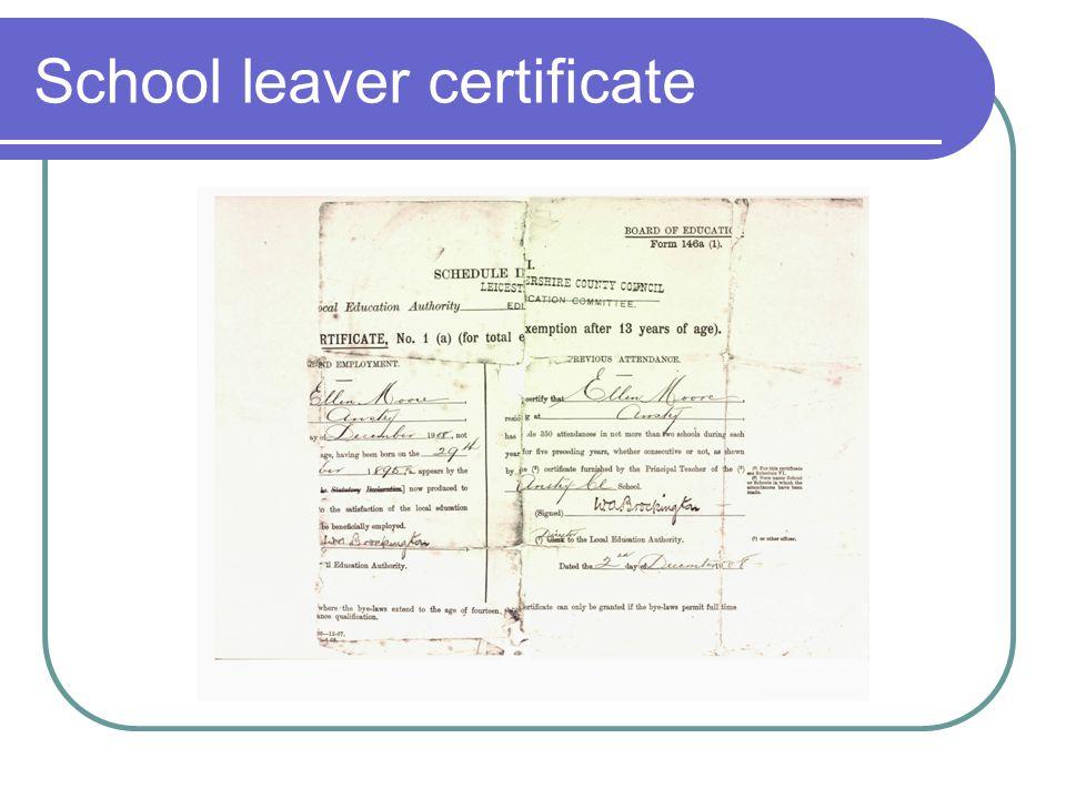 School leaver certificate