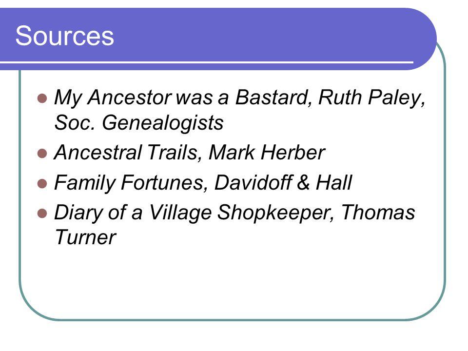 Sources My Ancestor was a Bastard, Ruth Paley, Soc.