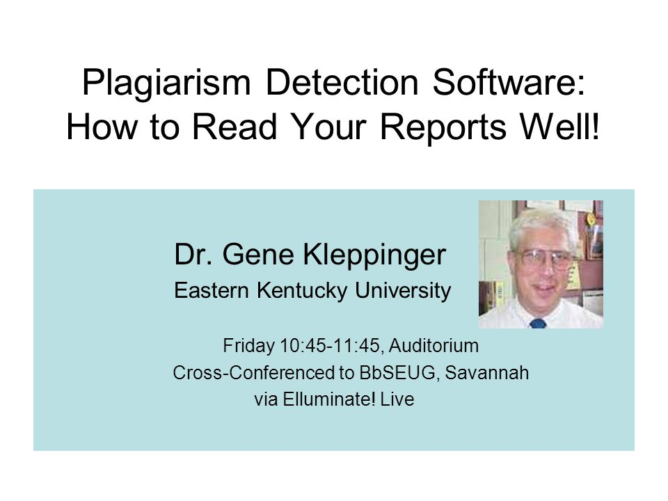 Plagiarism Detection Software: How to Read Your Reports Well.
