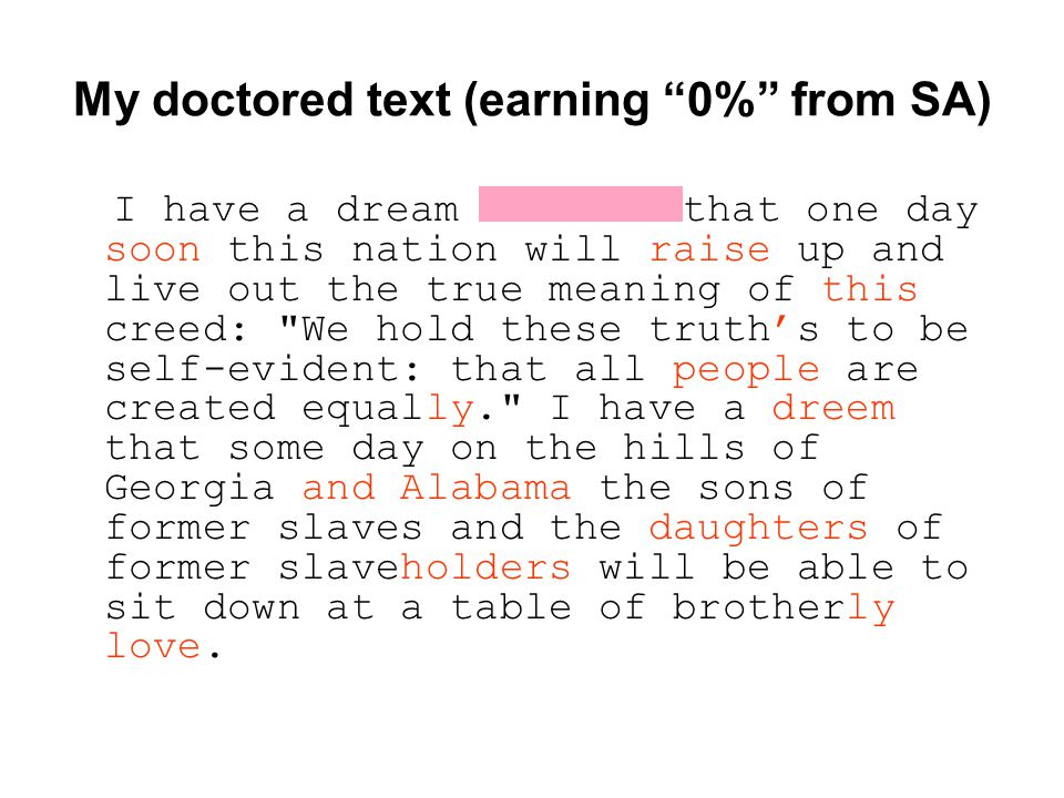"My doctored text (earning ""0%"" from SA) I have a dream that one day soon this nation will raise up and live out the true meaning of this creed:"