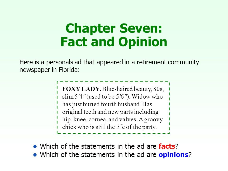 Which of the statements in the ad are facts.Which of the statements in the ad are opinions.