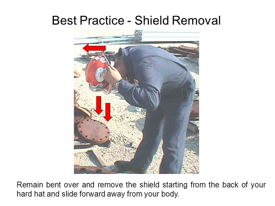 Best Practice - Shield Removal Remain bent over and remove the shield starting from the back of your hard hat and slide forward away from your body.