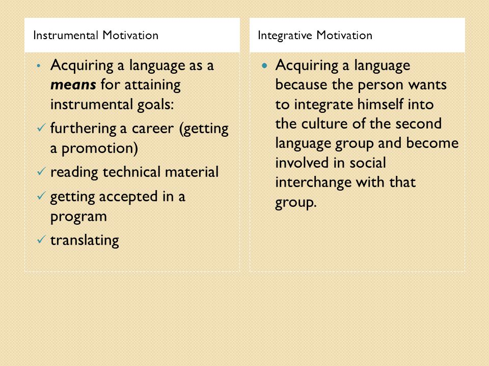 Instrumental MotivationIntegrative Motivation Acquiring a language as a means for attaining instrumental goals: furthering a career (getting a promotion) reading technical material getting accepted in a program translating Acquiring a language because the person wants to integrate himself into the culture of the second language group and become involved in social interchange with that group.