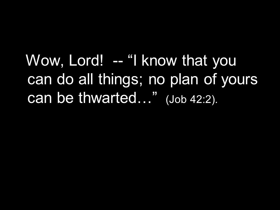 Wow, Lord! -- I know that you can do all things; no plan of yours can be thwarted… (Job 42:2).