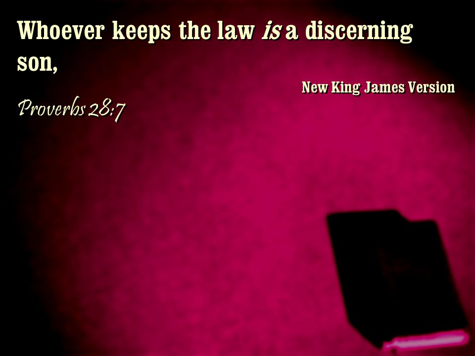 Whoever keeps the law is a discerning son, New King James Version Proverbs 28:7 Whoever keeps the law is a discerning son, New King James Version Prov