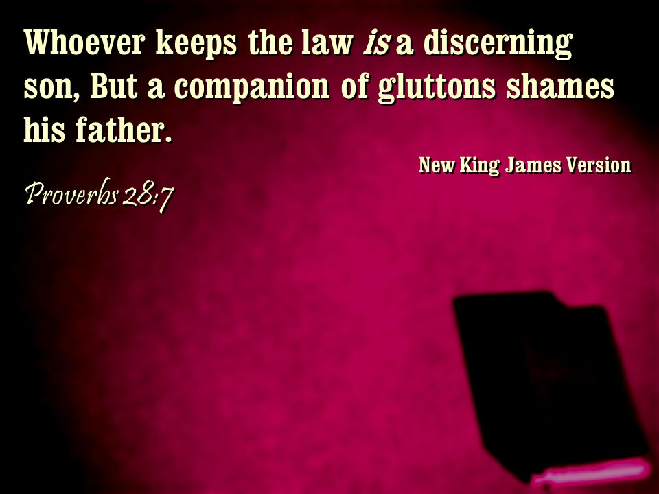 Whoever keeps the law is a discerning son, But a companion of gluttons shames his father. New King James Version Proverbs 28:7 Whoever keeps the law i