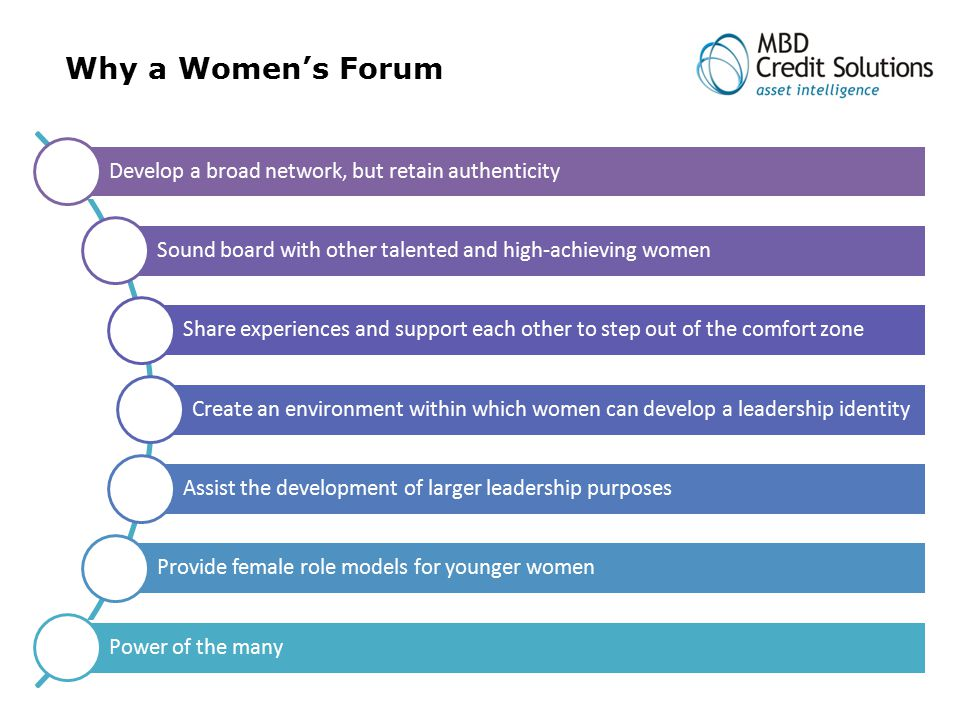 Why a Women's Forum Develop a broad network, but retain authenticity Sound board with other talented and high-achieving women Share experiences and support each other to step out of the comfort zone Create an environment within which women can develop a leadership identity Assist the development of larger leadership purposes Provide female role models for younger women Power of the many