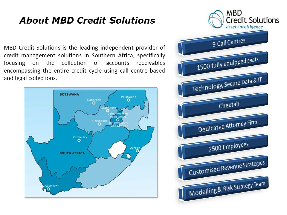 About MBD Credit Solutions MBD Credit Solutions is the leading independent provider of credit management solutions in Southern Africa, specifically fo