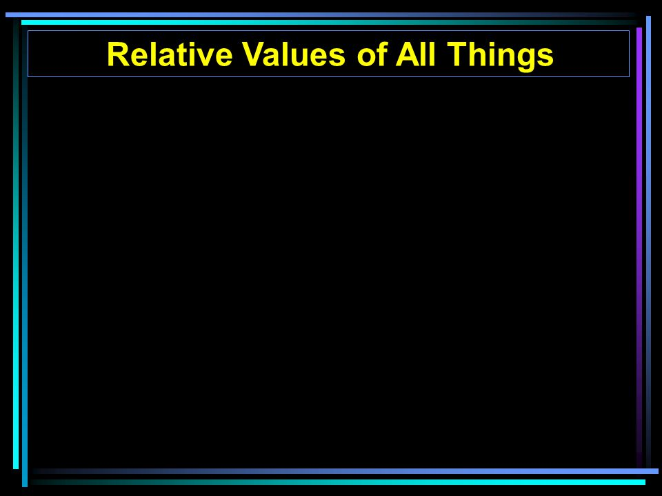 Relative Values of All Things