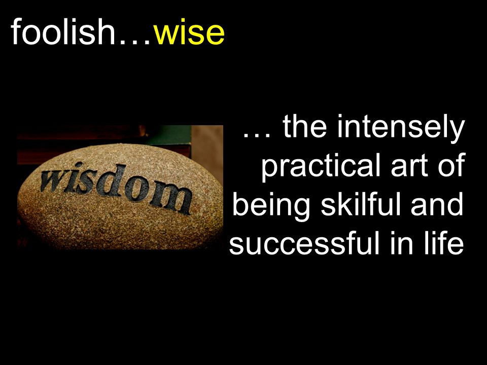 foolish…wise … the intensely practical art of being skilful and successful in life