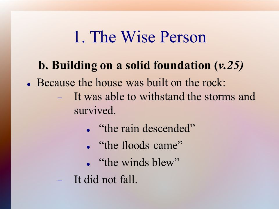 1. The Wise Person b.