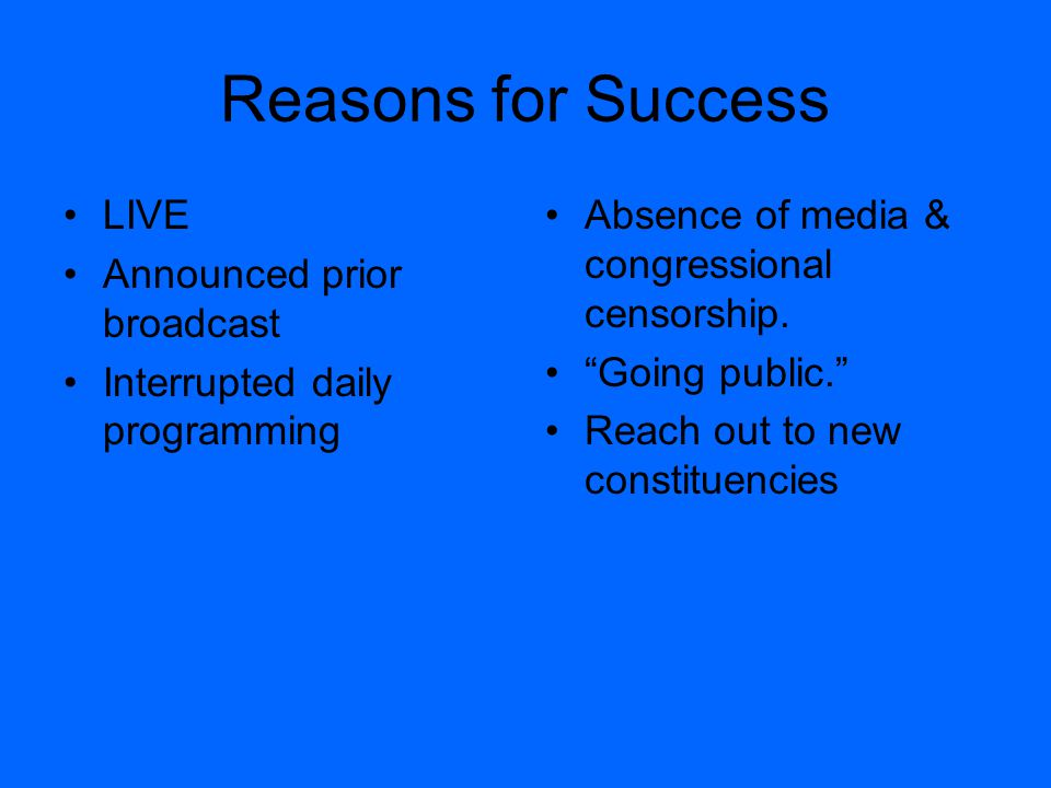 "Reasons for Success LIVE Announced prior broadcast Interrupted daily programming Absence of media & congressional censorship. ""Going public."" Reach ou"