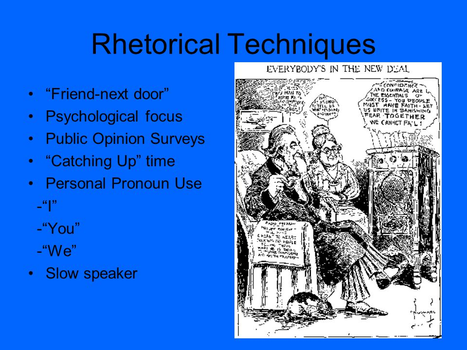 "Rhetorical Techniques ""Friend-next door"" Psychological focus Public Opinion Surveys ""Catching Up"" time Personal Pronoun Use -""I"" -""You"" -""We"" Slow spe"