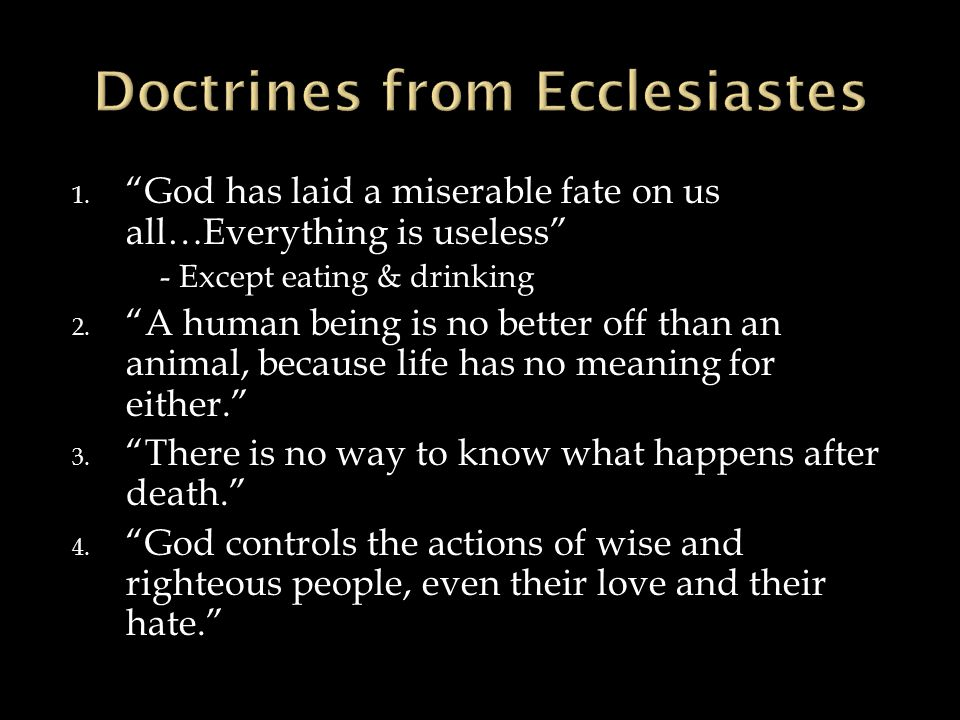 1. God has laid a miserable fate on us all…Everything is useless - Except eating & drinking 2.