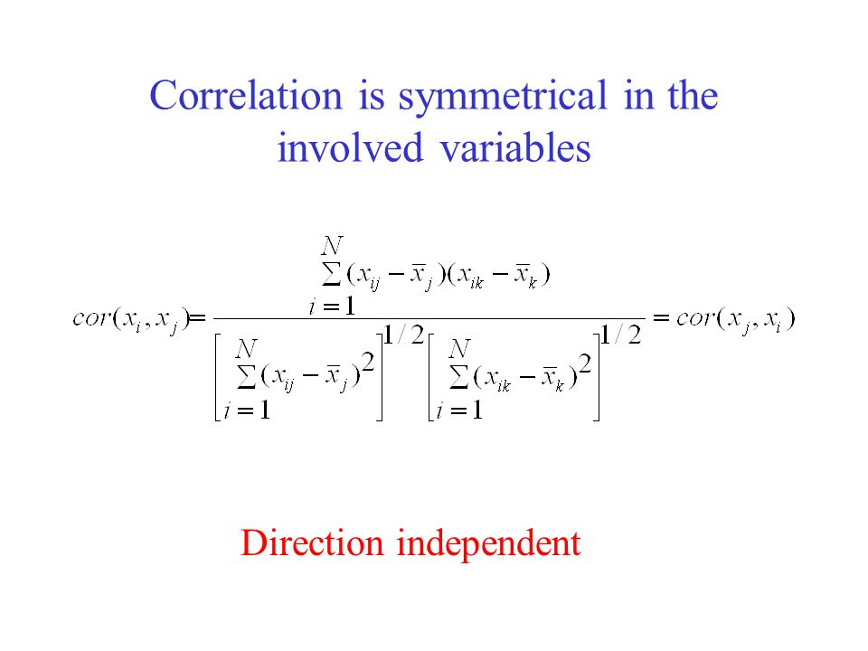 Correlation is symmetrical in the involved variables Direction independent