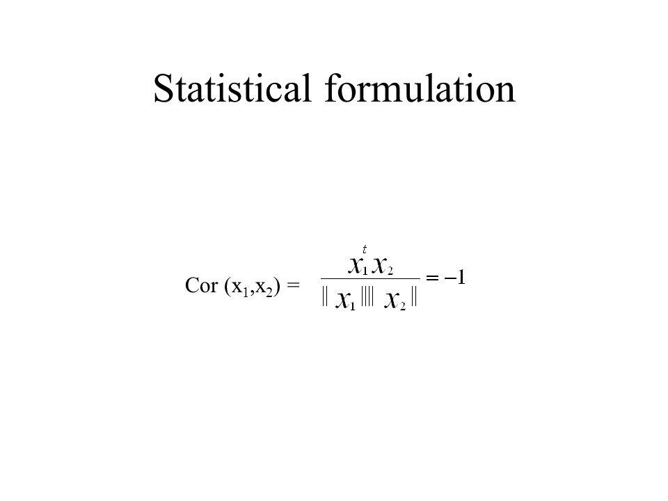 Statistical formulation Cor (x 1,x 2 ) =