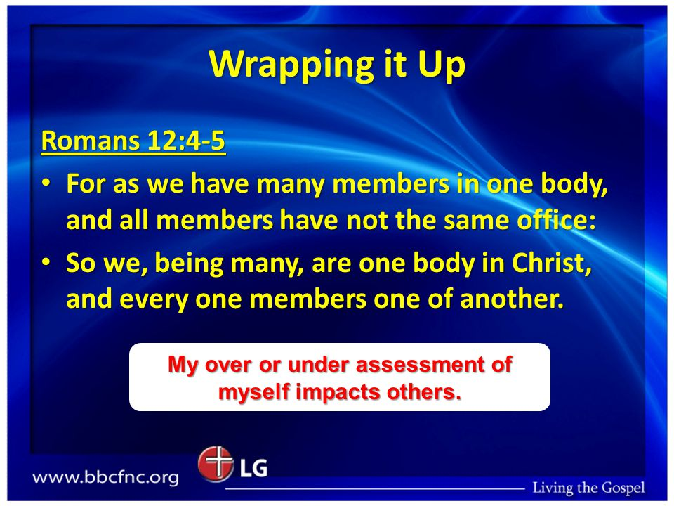 Wrapping it Up Romans 12:4-5 For as we have many members in one body, and all members have not the same office: For as we have many members in one body, and all members have not the same office: So we, being many, are one body in Christ, and every one members one of another.