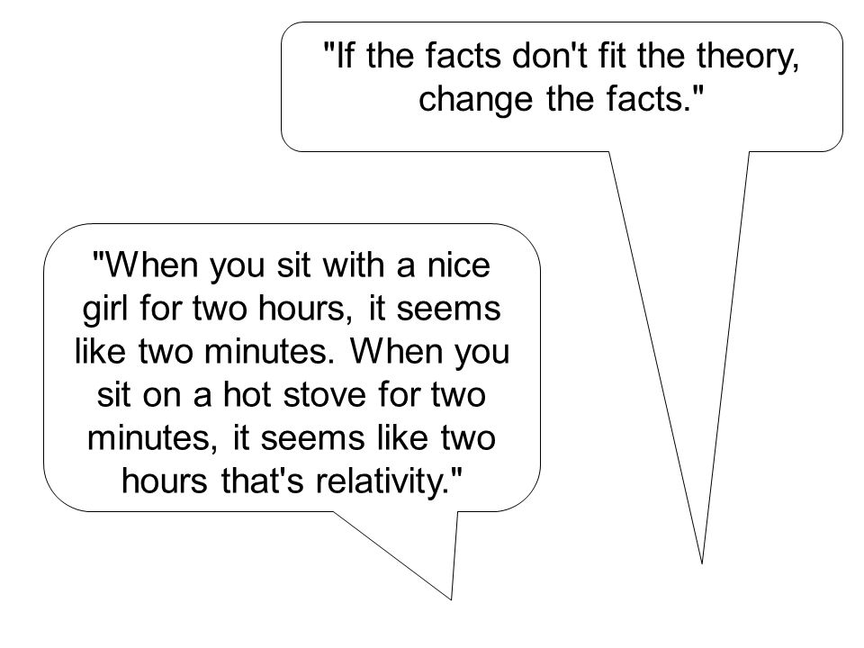If the facts don t fit the theory, change the facts. When you sit with a nice girl for two hours, it seems like two minutes.