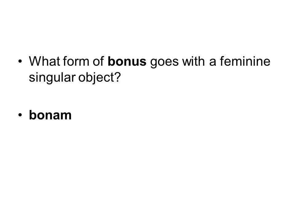 What form of bonus goes with a feminine singular object bonam