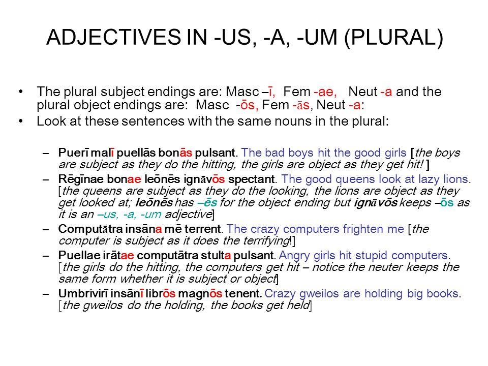 Now choose an adjective from the list to go in each of the blanks in the sentences magnīs (big), stultae (foolish), probōrum (honest), parvō (small), insānī (crazy), Graecō (Greek), albīs (white), meōrum (white) Puellae __stultae____ pec ū niam n ō n d ō.