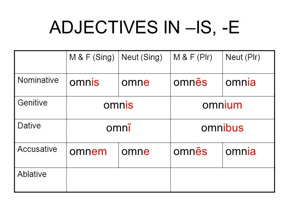 ADJECTIVES IN –IS, -E M & F (Sing)Neut (Sing)M & F (Plr)Neut (Plr) Nominative omnisomneomnēsomnia Genitive omnisomnium Dative omnīomnibus Accusative omnemomneomnēsomnia Ablative